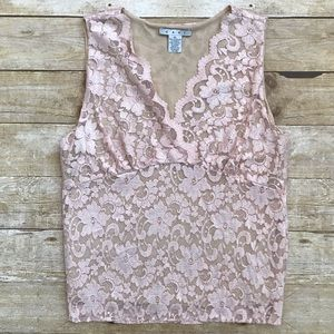 CAbi Light Pink Lace Tank Top size XL
